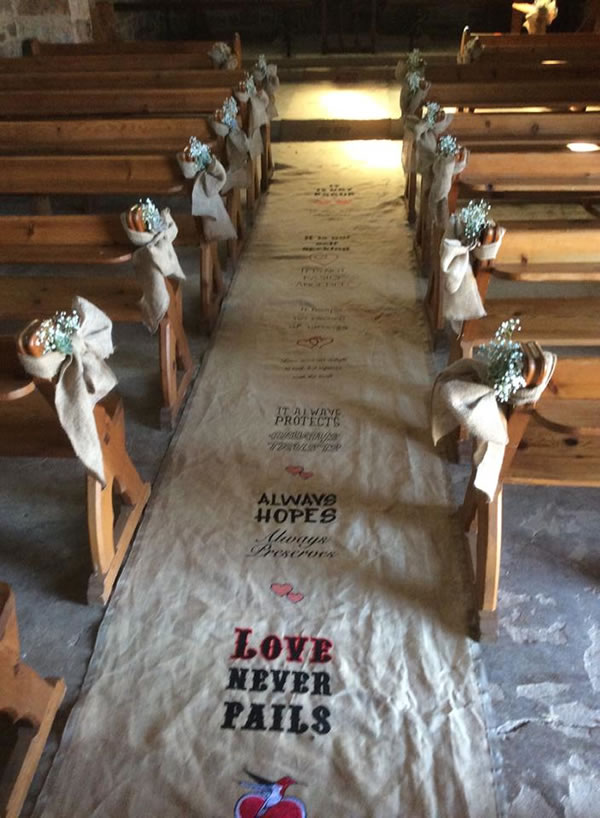 Embroidered Wedding Carpet for the Church in Grahamstown