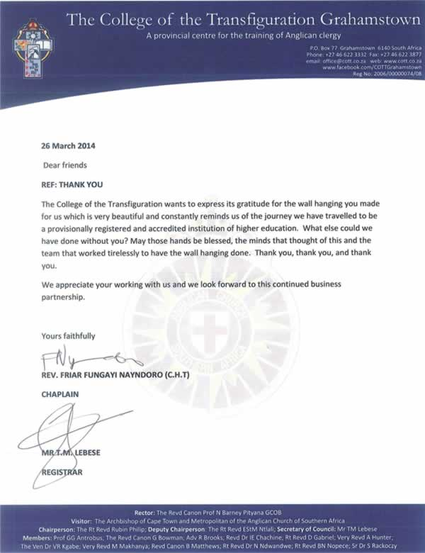 The College of Transfiguration Grahamstown Letter